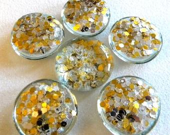 6 LARGE Flat Glass Confetti GLITTER Gems - Gold & Silver - Half Marbles - Mosaics/Wedding/Floral Display