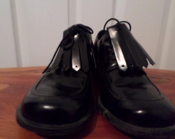 Womens 90s Tommy Hilfiger Shoes Black Patent Leather Oxford Lace ups 9 1/2