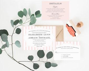 Wedding Invitation, Printable Wedding Invitation, Striped Wedding Invitation, Blush Wedding, Pink, DIY Wedding Invitation - #S7