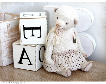 Shabby chic style Bear M 8,5 inch of White Wedding Snow collection