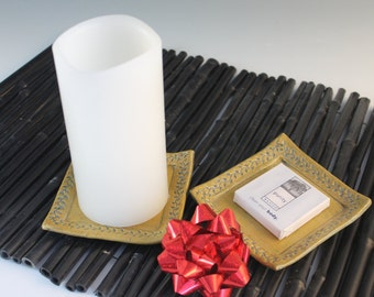 Small square plate - soap dish  -candle tray - spoon rest - sale