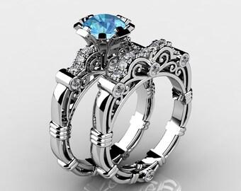 Art Masters Caravaggio 14K White Gold 1.0 Ct Aquamarine Diamond Engagement Ring Wedding Band Set R623S-14KWGDAQ