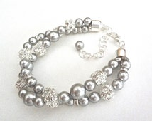Gray pearl bracelet - Chunky - Twisted - Swarovski pearls and crystals - Brides bracelet - 2 strand - Wedding bracelet ~ Infinity bracelet