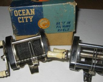 Pair Ocean City 1529 Baitcasting Reels Plus Box collectible