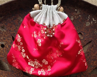 Red Gold Satin Drawstring Purse Small