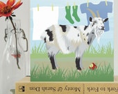 Goat card - animal, farmyard card