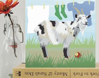Goat card - animal, farmyard, blank, birthday card