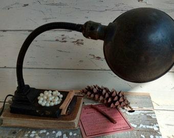 Antique Industrial Style Gooseneck Cast Iron Desk Lamp - Desk or Dresser Lighting, Mid Century Lighting, Desk Lamp, Working + Poseable Light