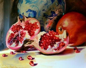 Still life painting of POMEGRANATES AND DELFT, orange and blue, Classic still life, oil on canvas, painting, art