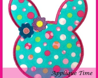 Instant Download Bunny Head Silhouette Machine Embroidery Applique Design 4x4, 5x7 and 6x10