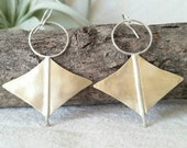 Nomad . Lightly Hammered and Brushed Bronze and Sterling Silver Dangle Earrings