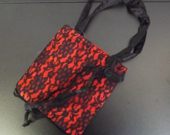 Red and Black Lace Purse - New Old Stock