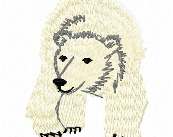 Polar Bear Machine Embroidery Design - Instant Download
