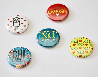 """Chi Omega 1"""" Buttons"""