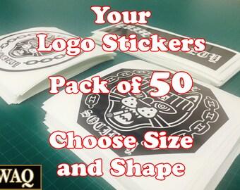 Custom Logo Stickers Pack of 50 Your Logo Design Vinyl Sticker Prints VWAQ-2441