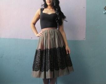 Vtg 50s Sheer Lace Over Taffeta Full Circle Skirt