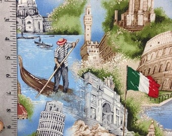 Landmarks of Italy, Fabric by the yard, 100% Cotton, Timeless Treasures, Italian, Rome, Roman, The Pantheon, The Vatican