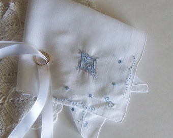 Wedding Handkerchief Monogrammed S Bride's Hanky with Blue Initial Bridal Shower Gift Something Old and Something Blue Wedding Keepsake