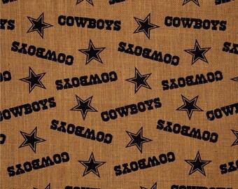 NFL Printed Burlap Dallas Cowboys by the yard