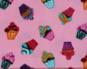 Cupcakes Print Anti Pill Fleece Fabric by the yard