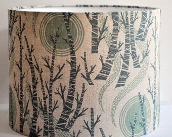 Birch Tree Sun Drum Lampshade