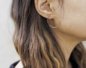 Gold fill Circle Hoops- gold Hoop Studs- gold Circle Studs- gold Hoop Earrings- gold Circle Studs