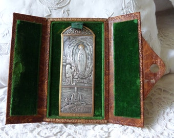 Antique leather travel altar pocket prayer religious icon w silver plaque souvenir our lady of Lourdes Holy Mother, holy virgin Mary icon
