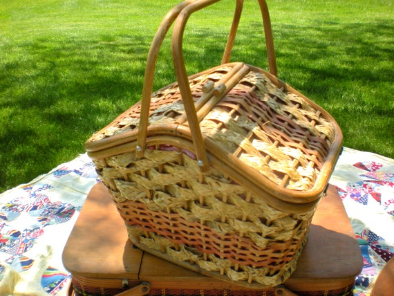 Red Plastic Picnic Basket : Small picnic basket wicker with pink plastic interior bamboo