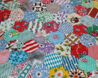 Vintage patchwork quilt like new hand stitched colorfull hexagons.
