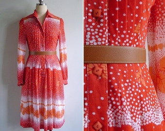 20% CNY SALE - Vintage 70's 'Leaves in the Snow' Tomato Red Shirt Dress XS or S