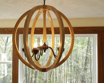 "24"" Distressed Painted White Wood Orb Chandelier Sphere Wood Chandelier Rustic Farmhouse"