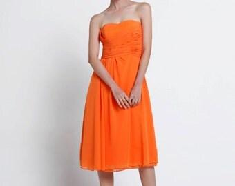 On Sale Size XXS Orange Red Wedding dress party dress bridesmaid dress - NC639-2