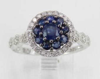 14K White Gold Diamond and Sapphire Cluster Engagement Ring Size 7 September Gem