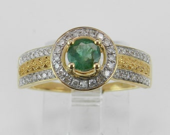 Emerald and Diamond Engagement Ring Halo Promise Ring 14K Yellow Gold Size 7.25