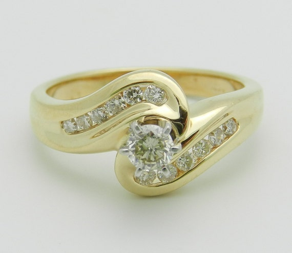 Diamond Engagement Ring 14K Yellow Gold Round Brilliant Natural Bypass Size 7