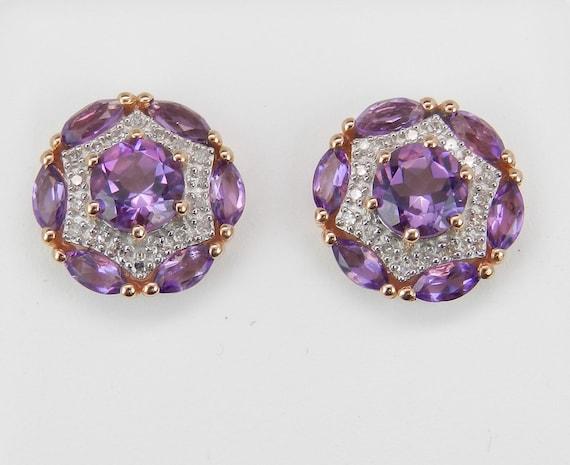 Amethyst and Diamond Stud Earrings Cluster Halo Earrings 14K Rose Gold Studs