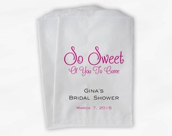 So Sweet To Come Candy Buffet Treat Bags - Personalized Bridal Shower Favor Bags in Hot Pink and Black - 25 Custom Paper Bags (0139)