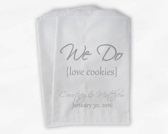 We Do Love Cookies Buffet Bags - Custom Favor Bags for Wedding, Birthday, Shower - Gray Paper Treat Bags (0063)