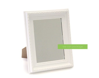 "White MIRROR Picture Frame Vintage Shabby Chic Photo  Table Sign Wedding Seating Plan 8"" x 10"""