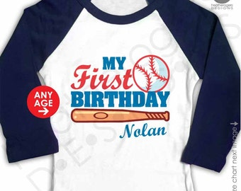 Baseball Raglan Birthday Shirt - Navy Raglan Personalized Baseball First Birthday Shirt - Baseball 1st Birthday Shirt