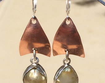 Bezel set Pearl Copper Petal Earrings