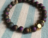 Rainbow Druzy Quartz Beaded Bracelet. 24k Gold Plated Bead and Brass.