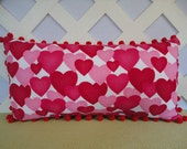 Red and Pink Hearts Valentine Pillow / Hearts Pillow / Valentine Gift / Accent Pillow
