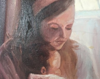 Vintage painting - mother and baby