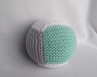 Cotton Baby Ball Rattle - Mint and Grey