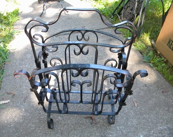 nice shape vintage antique ornate metal iron art deco 1930s 1940s MAGAZINE NEWSPAPER HOLDER stand    bldg