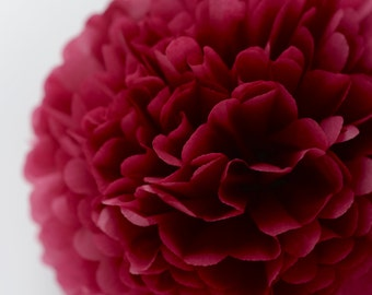 Paper pom pom in Burgundy  - wedding decorations - birthday decorations -party pom poms-  tissue paper PomPoms -nursery decor-very fluffy