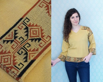 1970s Vintage Bell Sleeve Mustard Yellow Abstract Hippie V-Neck Sweater / Geometric Ethnic Print Pattern Trim Top Blouse / Small Medium S M