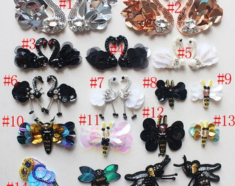 6-20pcs swans bees birds sequins Rhinestones beads appliques patches brooches 4115 free ship