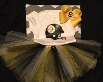Pittsburg Steelers onesie, tutu &bow set